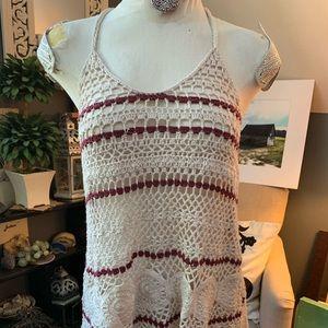 FULL TILT Crochet Top Fringe Bottom T Strap MEDIUM